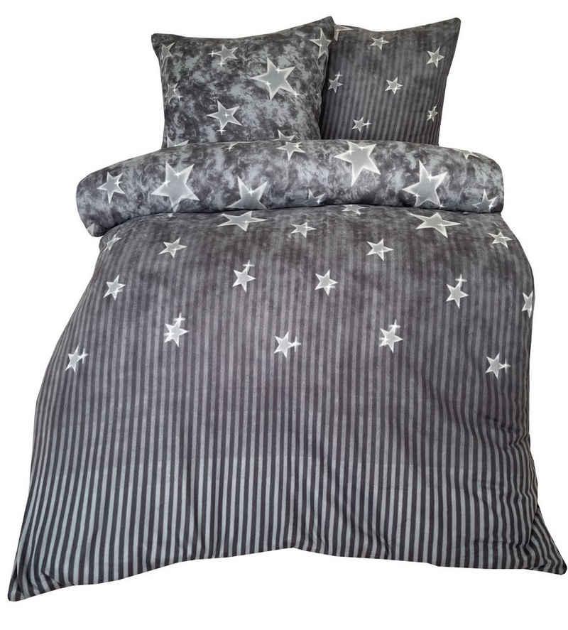 Bettwäsche, Leonado Vicenti, mit Sternen und Streifen Optik