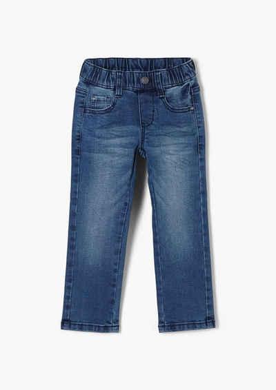 s.Oliver 5-Pocket-Jeans »Regular: Jeans mit Elastikbund« Zierknopf, Waschung