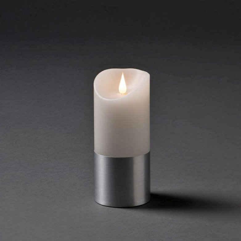 KONSTSMIDE LED-Kerze (1-tlg), LED Echtwachskerze, weiß, mit silberfarbener Banderole