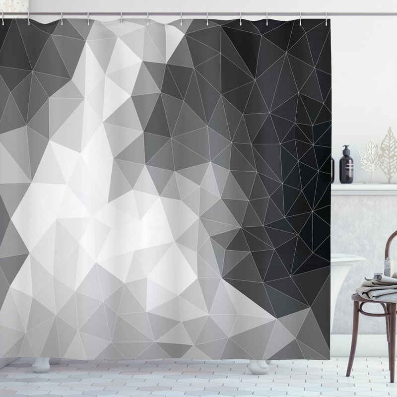 Abakuhaus Duschvorhang »Moderner Digitaldruck mit 12 Haken auf Stoff Wasser Resistent« Breite 175 cm, Höhe 200 cm, Schwarz und Grau Polygon Dreieck