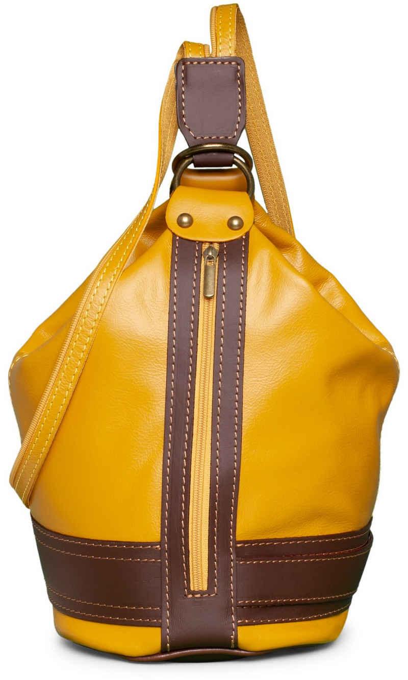 Caspar Schultertasche »TL721 2 in 1 Leder Rucksack Handtasche«