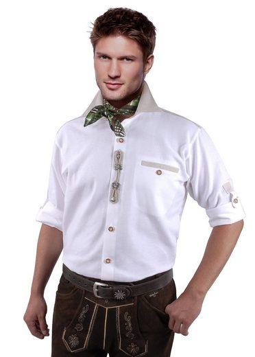 Moschen-Bayern Trachtenhemd »Trachtenhemd Herren Wiesn-Hemd zur Lederhose mit Edelweiß - Herrenhemd Langarm + Kurzarm Weiß-Beige« Comfort Fit