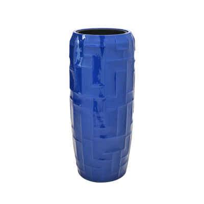 Flingora Bodenvase »Mara«, mit Einsatz - Fiberglas Pflanzvase - Indoor & Outdoor - Hochglanz Kobaltblau - Höhe 75 cm / Ø 34 cm