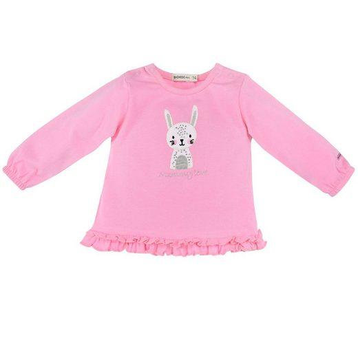 """BONDI Langarmshirt »Baby Newborn Shirt Pullover mit Rüschen """"Mommy love"""" 93631, Rosa«"""