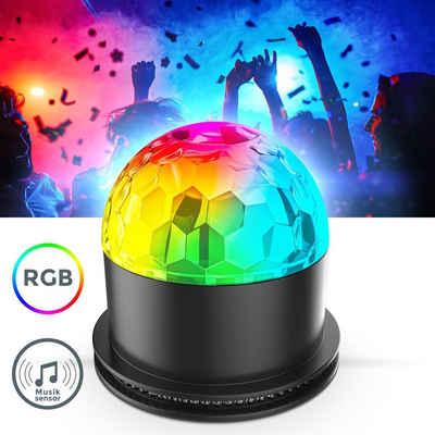 B.K.Licht Tischleuchte »BKL1327«, LED Discolicht Partylicht Musiksensor rotierend Farbwechsel Discokugel Partyleuchte RGB Tischlampe