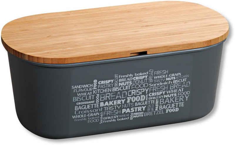 KESPER for kitchen & home Brotkasten, Kunststoff, Bambus, (1-tlg), mit Deckel als Schneidbrett