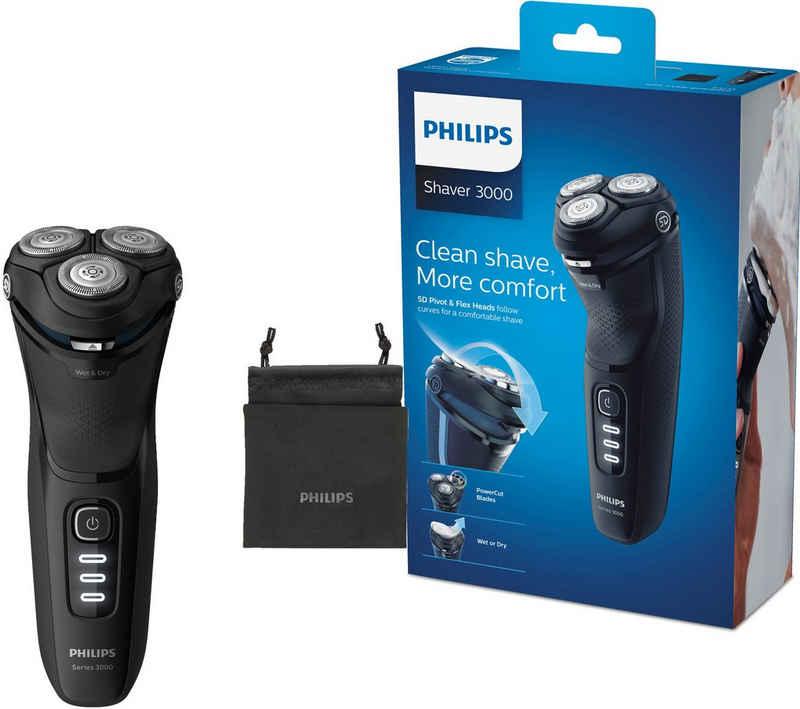 Philips Elektrorasierer Series 3000 S3233/52, ausklappbarer Langhaarschneider, mit PowerCut-Klingen