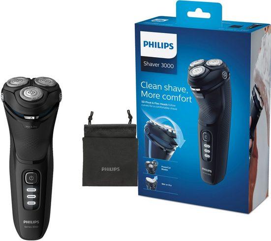 Philips Elektrorasierer S3233/52 Series 3200, ausklappbarer Langhaarschneider, mit PowerCut-Klingen
