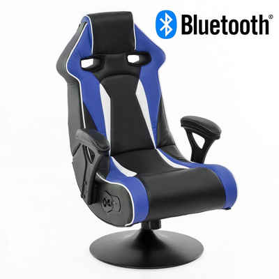 Wohnling Gaming Chair »WL8.025BT«, Soundchair SPECTER II in Blau-Weiß-Schwarz mit Bluetooth, Racing Musiksessel eingebaute Lautsprechern, Multimediasessel Gamer, 1.1 Soundsystem - Subwoofer, Music Sessel Rocker Chair