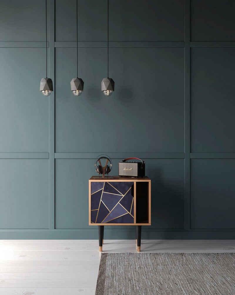 Places of Style Nachtkommode »Amethist«, mit dekorativen Print auf den Türen