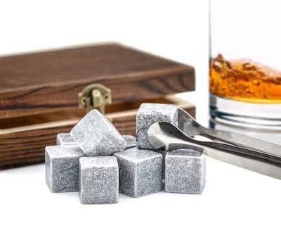 """PRECORN Whiskyglas »9er Set Whisky-Steine Premium Selection in edler Box Geschenk Set Whiskysteine für Getränke """"on the rocks"""" Eiswürfel Kühlsteine Whiskeysteine in Holzbox mit Samtbeutel und Zange«"""