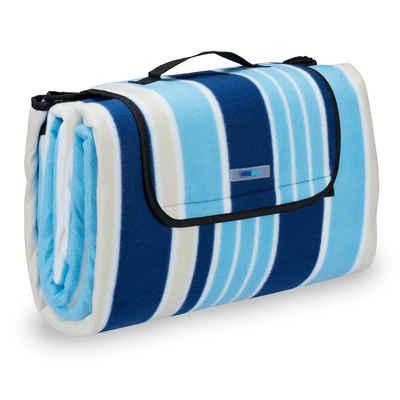 Picknickdecke »Picknickdecke blau-weiße Streifen«, relaxdays
