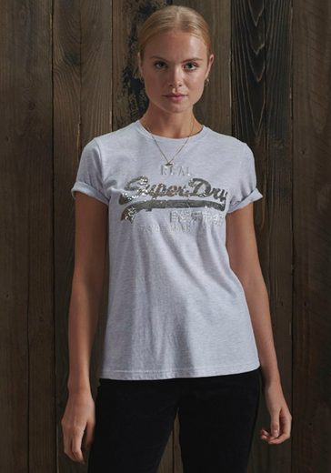Superdry T-Shirt Vintage Logo T-Shirt mit Paillettenbesatz