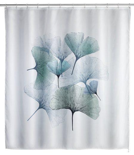 WENKO Duschvorhang »Anti-SchimmelGinkgo« Breite 200,00 cm, Polyester, 180 x 200 cm, waschbar