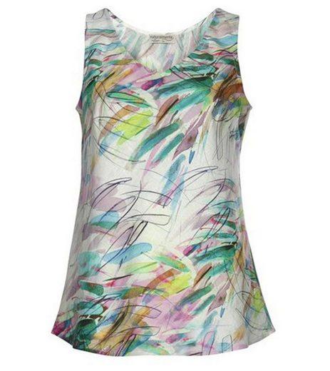 naturalmente Shirttop »naturalmente Shirt stylisches Damen Leinen-Top ärmellos Freizeit-Top Bunt«