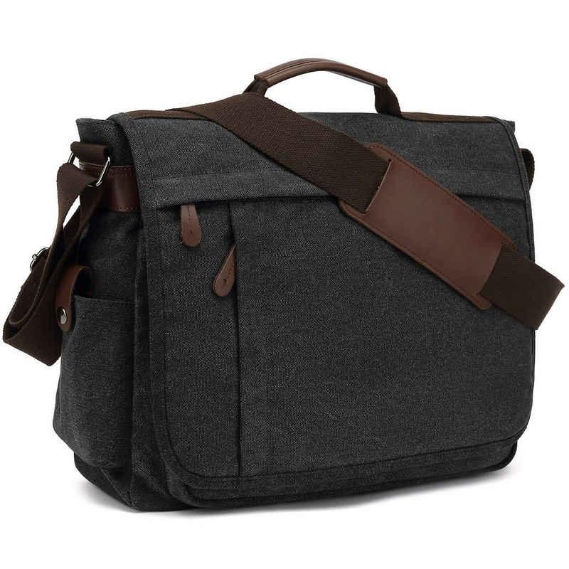 TAN.TOMI Aktentasche »Umhängetaschen Herren aus Canvas Schultasche A4 Laptoptasche für 15,6 Zoll Laptop Arbeitstasche Aktentasche groß« (Umhängetasche für Herren,Große Umhängetasche Businessmode,Leinentasche Beiläufige Art und Weise, Laptop Arbeitstasche Aktentasche), Verstellbarer Schultergurt,Canvas Schultasche,Aktentasche groß,Laptop Arbeitstasche