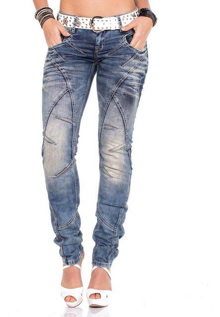 Hosen - Cipo Baxx Bequeme Jeans mit coolem Gürtel › weiß  - Onlineshop OTTO