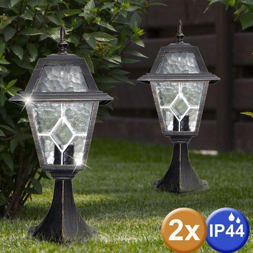 etc-shop LED Außen-Stehlampe, 2er Set Steh Lampen Außen Bereich Hof Garten Veranda Beleuchtung Stand Leuchten ALU schwarz gold