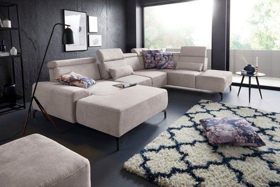 sit&more Wohnlandschaft, 15 cm Fußhöhe, inklusive Sitztiefenverstellung und Kopfteilverstellung, wahlweise in 2 unterschiedlichen Fußfarben