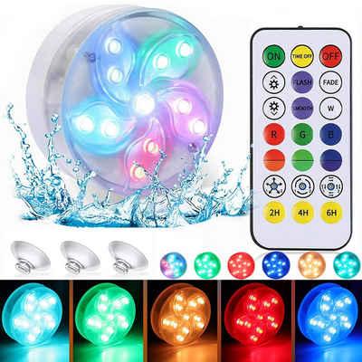 Rosnek Pool-Lampe »Poolbeleuchtung 11 LED RGB Magnet Unterwasser Licht IP68 Pond Aquarium Poolleuchte mit Saugnäpfen Fernbedienung«, Unterwasser LED Licht