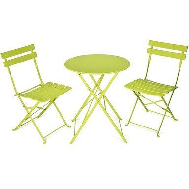 Vanage Bistro Balkon Set | Klappbares, dreiteiliges Set | limettengrün