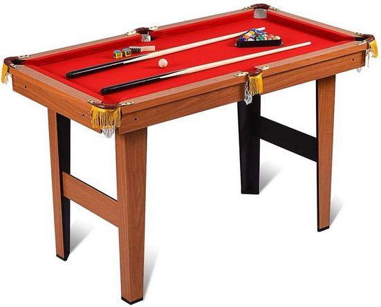 COSTWAY Billardtisch »Billard-Spiel«, 4 ft Billardtisch mit 2 Queues und 16 Kugeln, Tischbillard für Kinder, Familienspiele