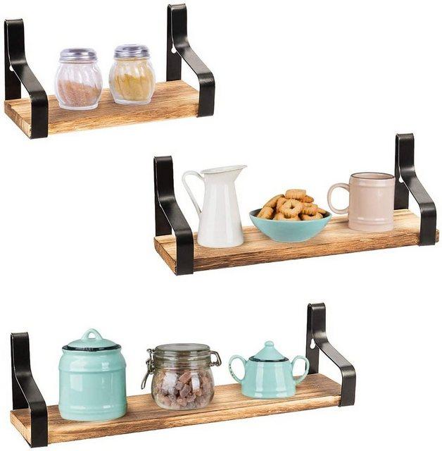Badregale - COSTWAY Wandregal »3er Set Schweberegal Küchenregal Lagerregal«, 3 tlg., mit Stahlhalterungen  - Onlineshop OTTO