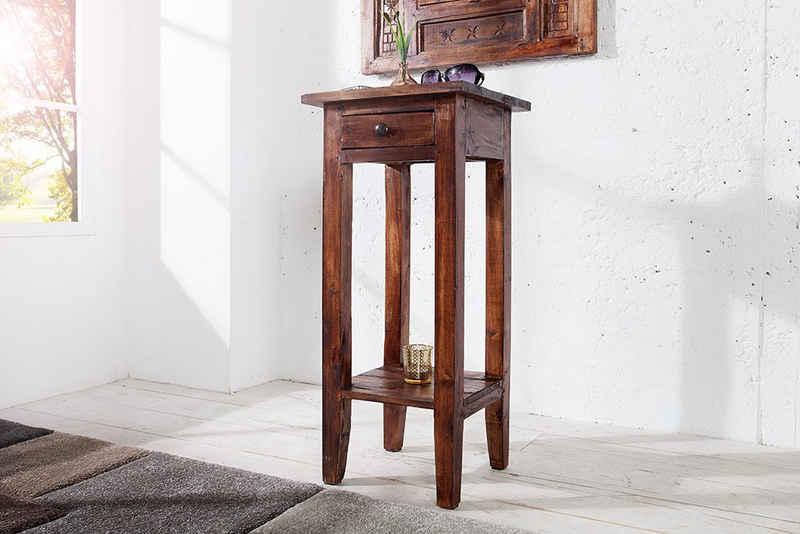 riess-ambiente Beistelltisch »HEMINGWAY 75cm antik braun«, Wohnzimmer · Massivholz · mit Schublade · Flur