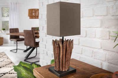 riess-ambiente Tischleuchte »EUPHORIA 45cm braun«, Fuß aus Massivholz, Schirm aus Leinenstoff, Handarbeit