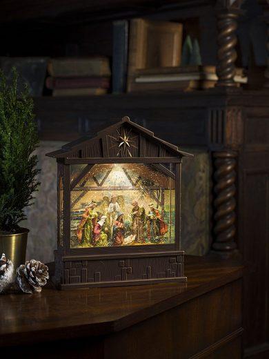 "KONSTSMIDE LED Laterne, LED Wasserlaterne, ""Krippe mit Geburt Jesus"""