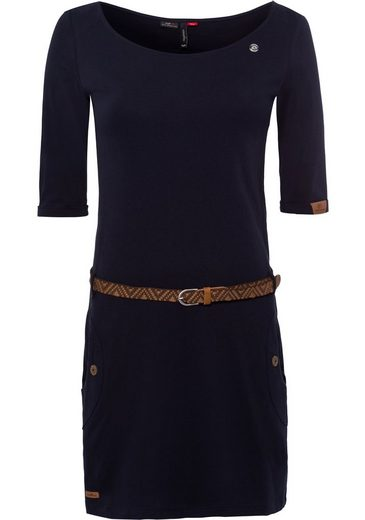 Ragwear Jerseykleid »TANYA SOLID« (2-tlg., mit abnehmbarem Gürtel) mit Zierknöpfen in natürlicher Holzoptik