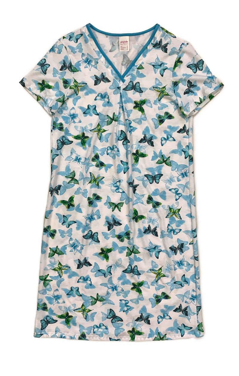 Graziella Nachthemd »Nachthemd mit V-Ausschnitt und Schmetterlings-Druck« Schmetterlinge, V-Ausschnitt, gemustert