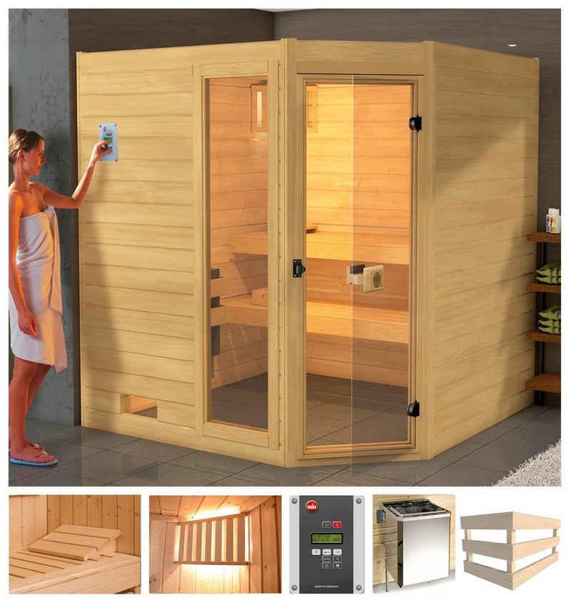 weka Sauna »Lars Eck 1«, BxTxH: 189 x 139 x 203,5 cm, 38 mm, 7,5 kW Ofen mit ext. Steuerung