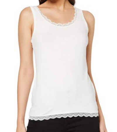 TOM TAILOR Shirttop »TOM TAILOR Freizeit-Top feminines Damen Sommer-Shirt mit Spitzenkante Mode-Shirt Weiß«