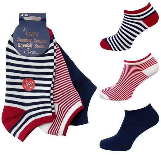 """NEO-24 Sneakersocken »3er Pack Damen Sneaker Socken """"Anker & Streifen""""« (Packung, 3-Paar, 3 Paar) super Tragekomfort"""