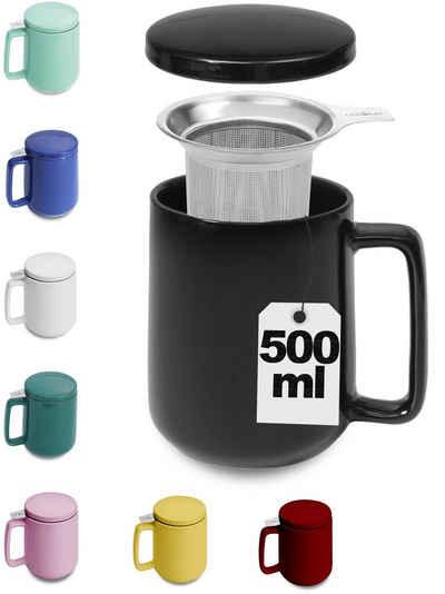 Cosumy Teeglas »Teetasse mit Sieb und Deckel Schwarz 500ml«, Keramik, Hält Lange warm - 500ml XXL Groß - Spülmaschinenfest
