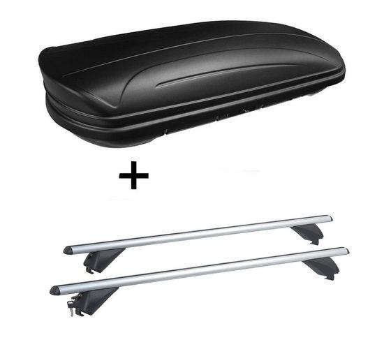 VDP Fahrradträger, Dachbox VDPMAA320 320Ltr abschließbar schwarz matt + Alu Dachträger RB003 kompatibel mit Bmw X3 (G01) (5Türer) ab 2018