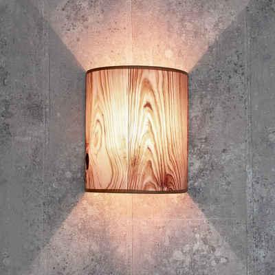 Licht-Erlebnisse Wandleuchte »ALICE Wandlampe Stoffschirm Holz Optik halbrund Loft Schlafzimmer Flur Lampe«