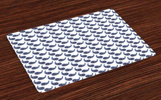 Tischdecke, »Waschbare Stoff Esszimmer Küche Tischdekorations Digitaldruck«, Abakuhaus, (4-teilig, 4 Teilig-St., Set aus 4x), Paisley Abstrakt Folkloric