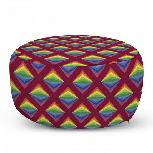 Abakuhaus Pouf »dekorative weiche Fußstütze und Reißverschlusshülle osmanisches Wohn-und Schlafzimmer«, geometrische Rhombus Energetische Regenbogen