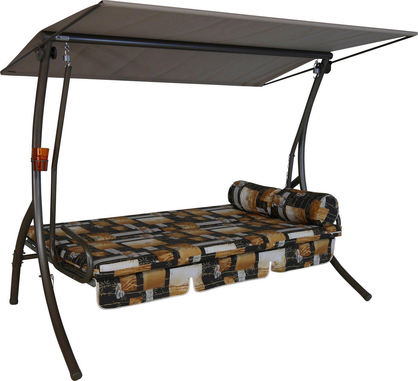 Hollywoodschaukel 3-Sitzer aus Stahl mit Sonnendach*