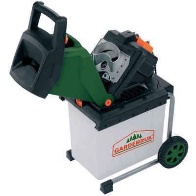 Gardebruk Messerhäcksler, 2500W elektrisch max. 40 mm Aststärke 50L Auffangbox Gartenhäcksler Häcksler Schredder