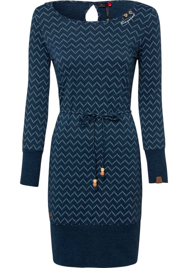 Ragwear Jerseykleid »SOHO LONG ZIG ZAG O« (2-tlg., mit Bindegürtel) mit Zig Zag Allover-Druck