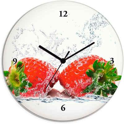 Artland Wanduhr »Erdbeeren mit Spritzwasser« (lautlos, ohne Tickgeräusche, nicht tickend, geräuschlos - wählbar: Funkuhr o. Quarzuhr, moderne Uhr für Wohnzimmer, Küche etc. - Stil: modern)