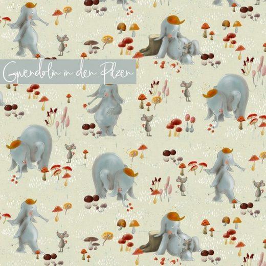 larissastoffe Stoff »Bio Jersey Stoff, Lillestoff Gwendolin Elefant«, Stoffe zum Nähen, Meterware, 50 cm x volle Breite