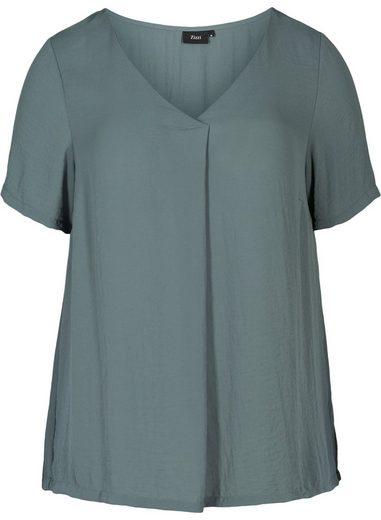 Zizzi Kurzarmbluse Große Größen Damen Einfarbige Kurzarm Bluse mit V Ausschnitt
