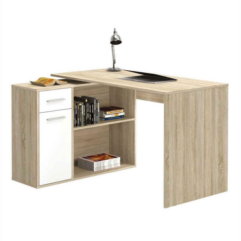 CARO-Möbel Eckschreibtisch »LENA«, Schreibtisch Eckschreibtisch Kinderschreibtisch mit Regal Sonoma Eiche/weiß