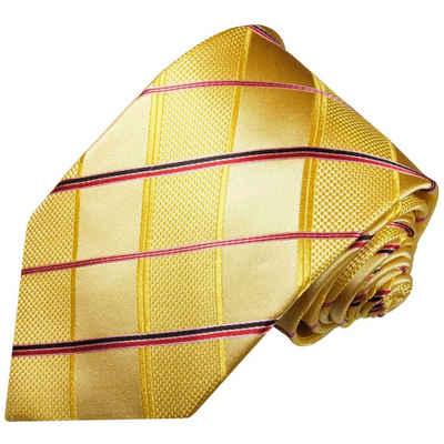 Paul Malone Krawatte »Designer Seidenkrawatte Herren Schlips modern Karo gestreift 100% Seide« Schmal (6cm), gold gelb pink 538
