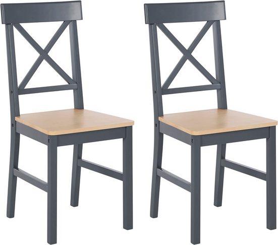 Homexperts Esszimmerstuhl »Milow« (Set, 2 Stück), aus Massivholz, mit farblich abgesetzter Sitzfläche