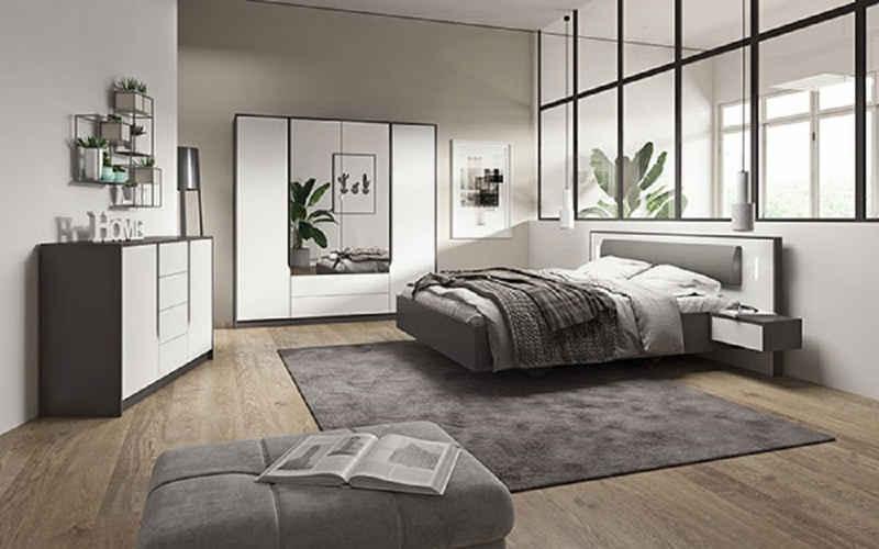Feldmann-Wohnen Schlafzimmer-Set »SEGA«, (Set, 1 Kleiderschrank + 1 Doppelbett + 2 Nachtkonsolen + 1 Kommode), Liegefläche: 160 x 200 cm